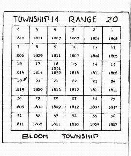 Sketch map of Bloom Township showing the dates of the first land patents